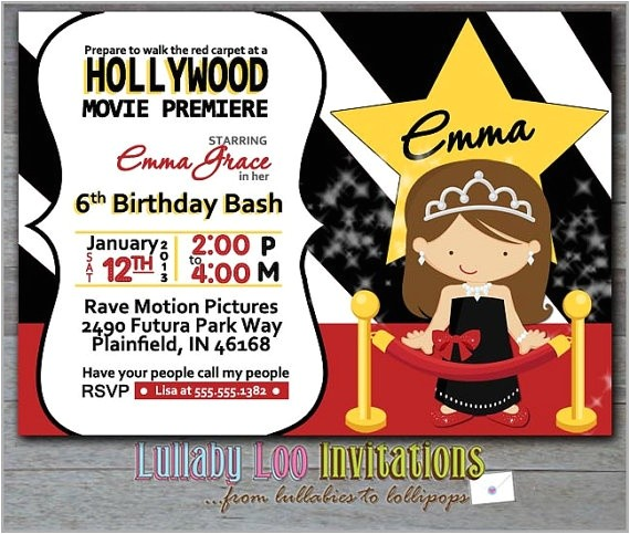 hollywood birthday party invitations