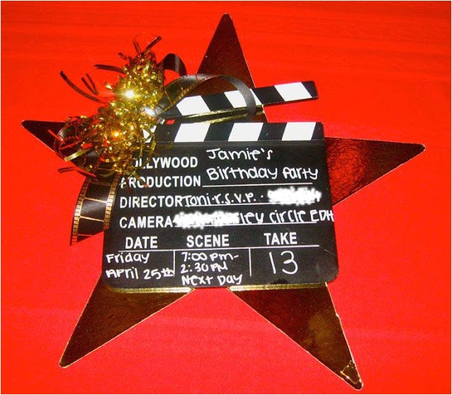 hollywood clapboard birthday invitation