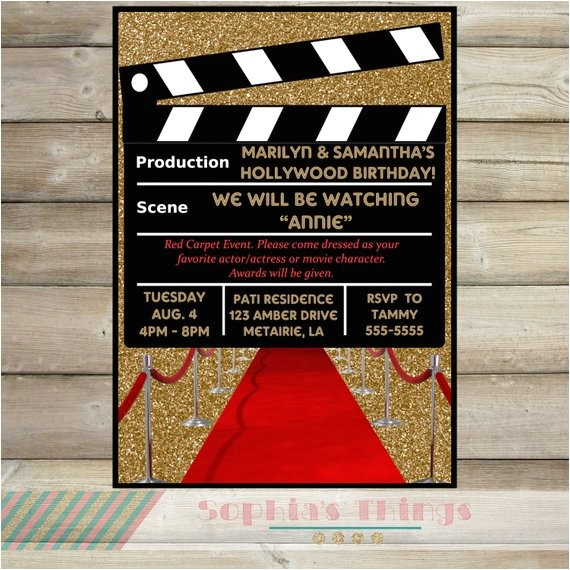 movie party invitation hollywood movie