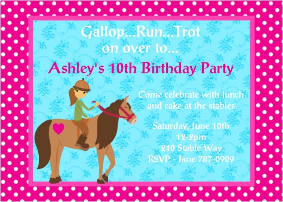4 fancy free printable horse birthday party invitations