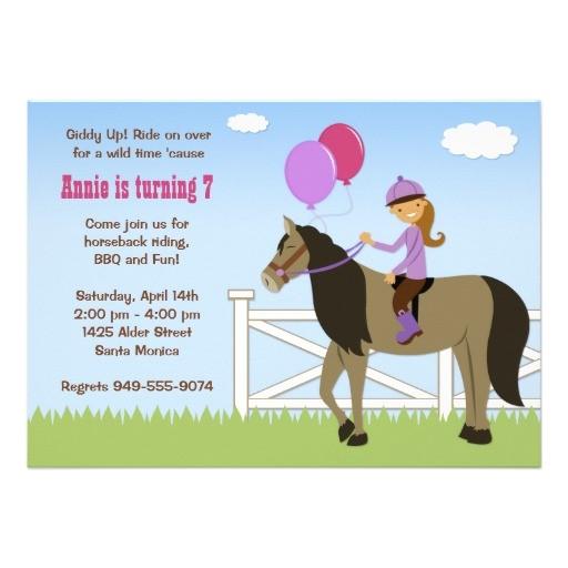 free printable horse birthday party invitations