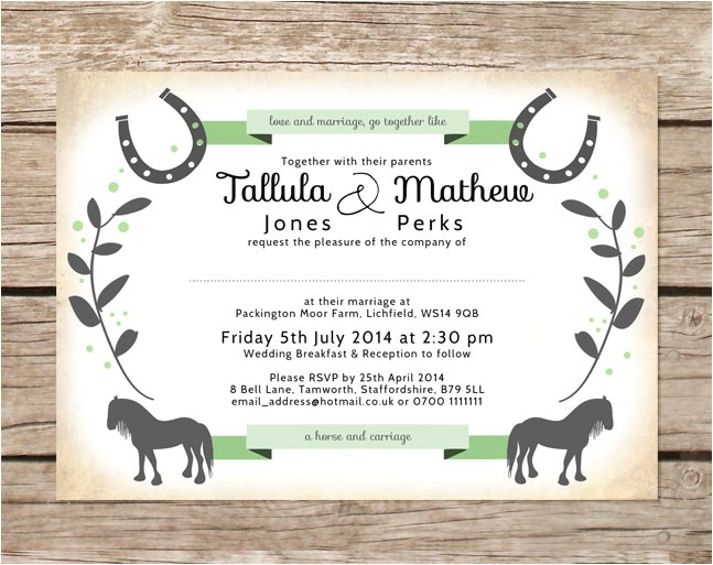 horse themed wedding invitations bridal shower too