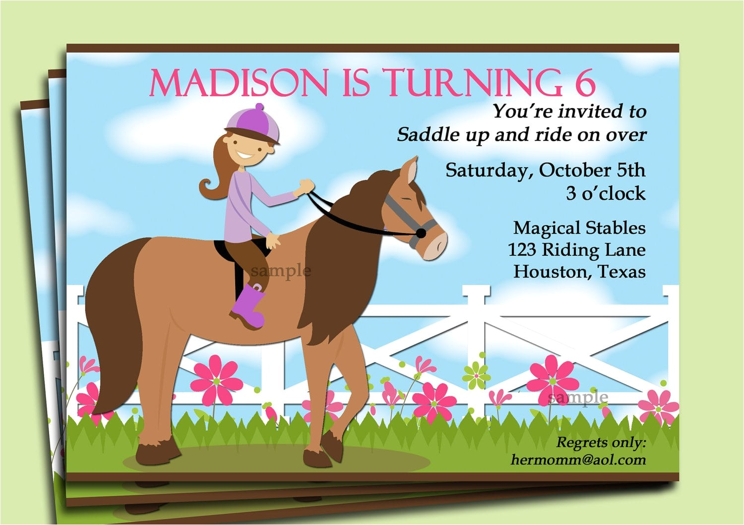 free printable horse party invitation