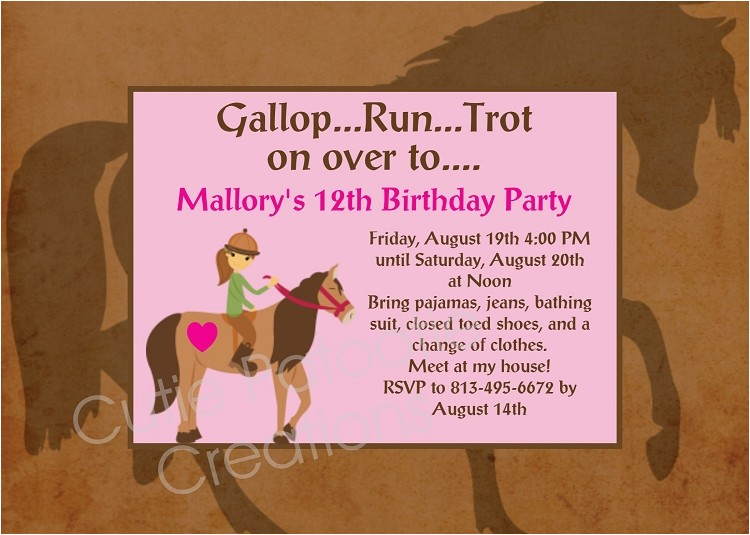 horseback riding birthday party invitations printable or printed p 350