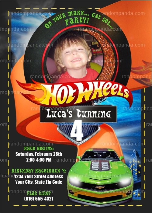 personalize hot wheels invitation