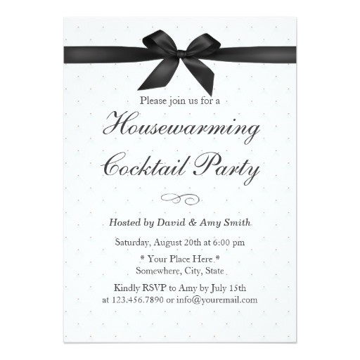 elegant black ribbon housewarming cocktail party invitation 161740896582784521