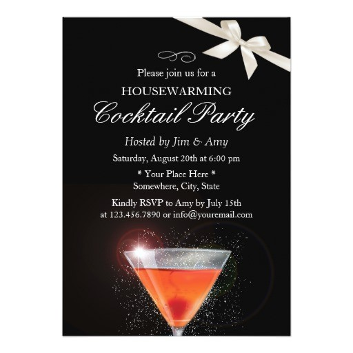 elegant ivory ribbon housewarming cocktail party card 161666860905706056