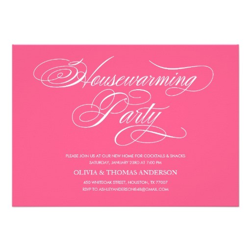 pink housewarming party invitations 161910059738806975