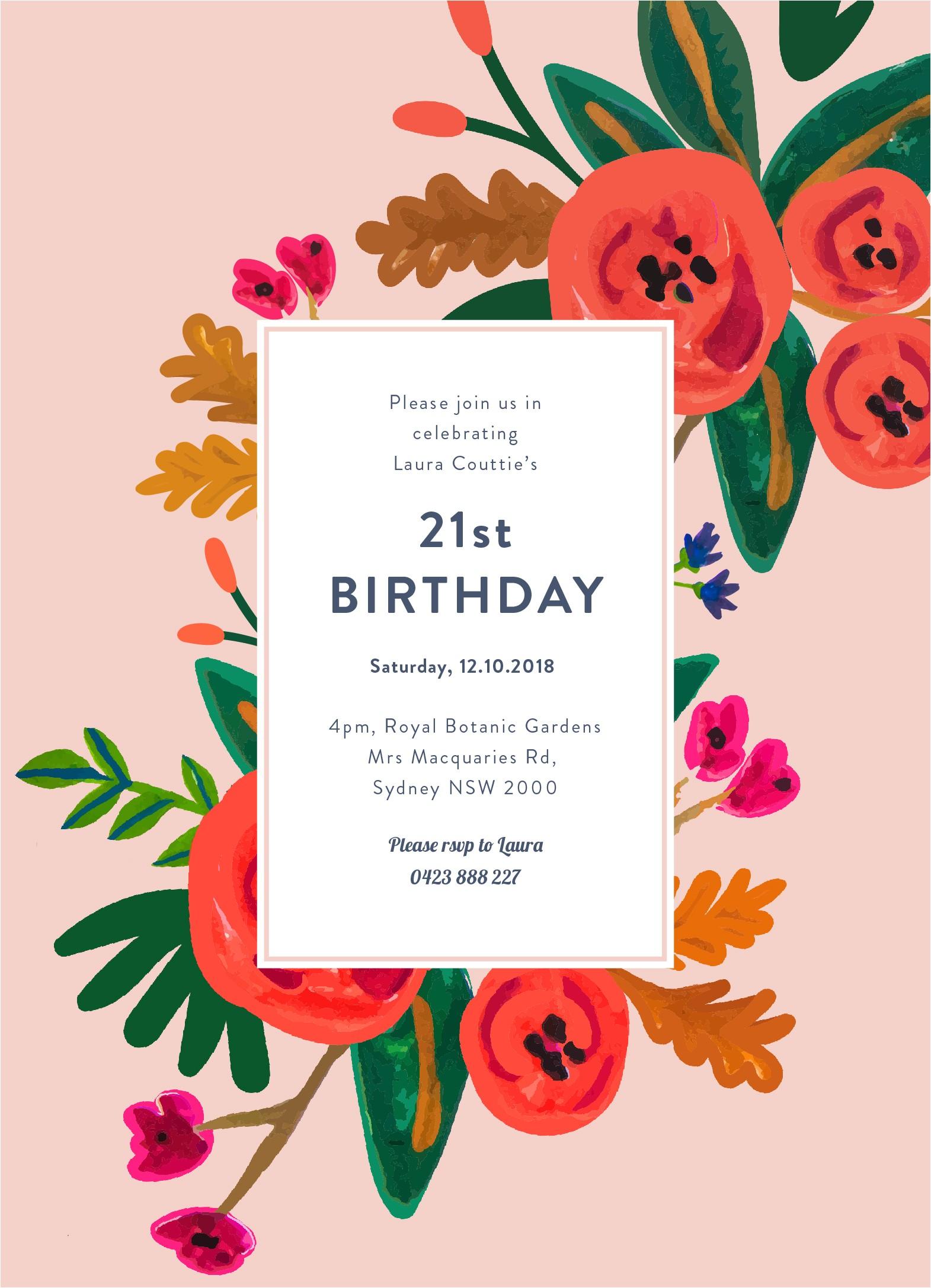 birthday invitations digital cards floral birthday birthday invitations