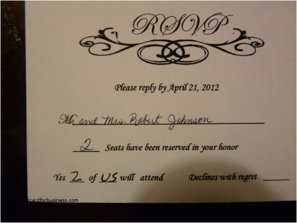 how to fill out a wedding invitation rsvp