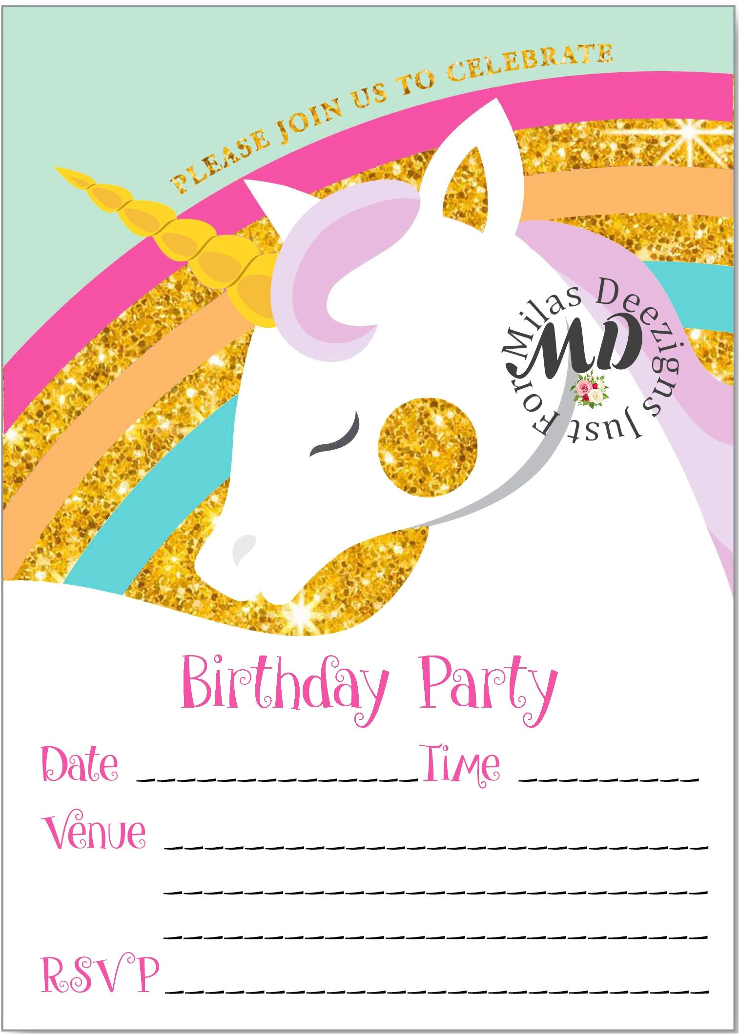how to fill out birthday party invitations new fill in unicorn printable birthday invitation milasdeezigns