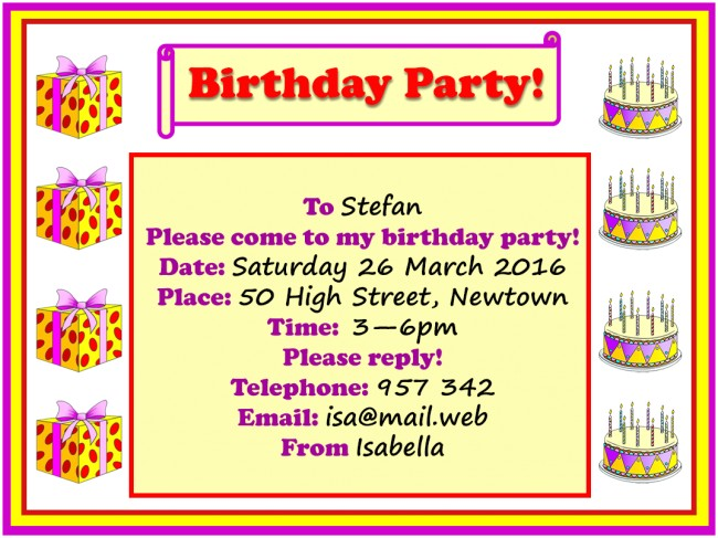How to Invite for Birthday Party Birthday Party Invitation Learnenglish Kids British