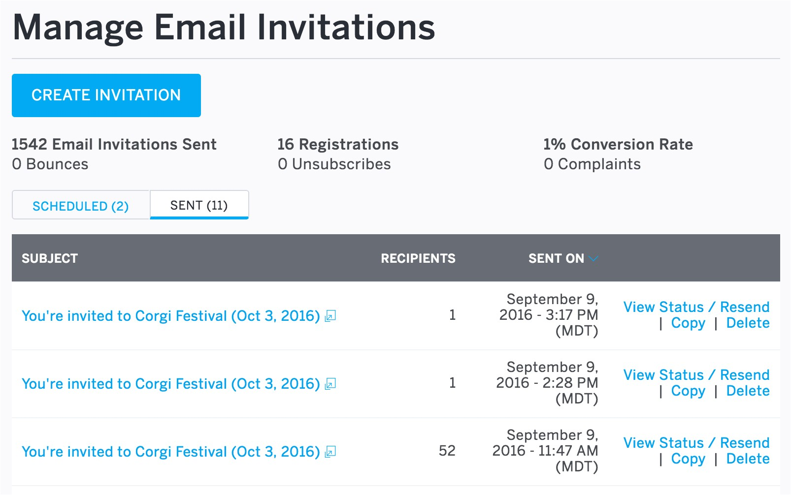 invitations by email