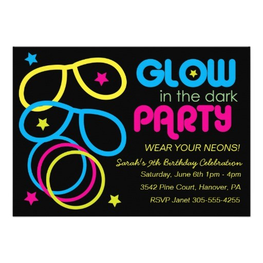 glow in the dark birthday party invites 161589521486898938