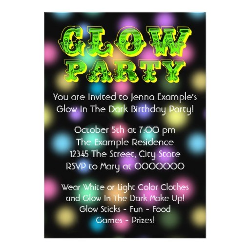 neon glow in the dark birthday party invitation 161896405582912192