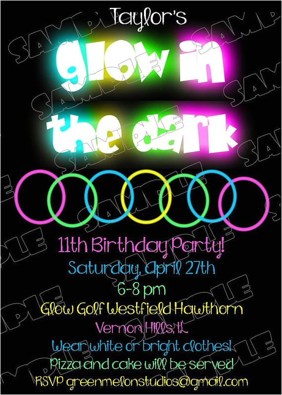 awseome detail glow in the dark party invitations