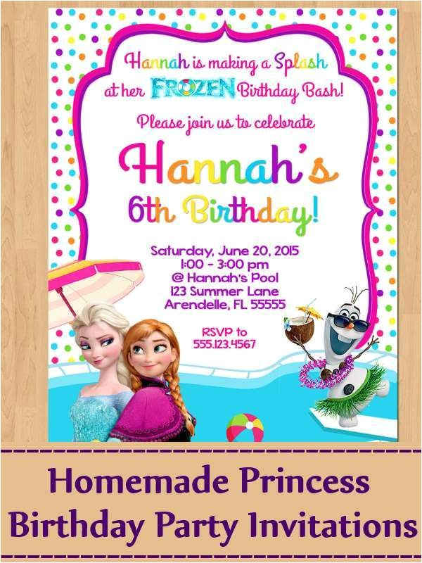 ideas for homemade princess birthday party invitations