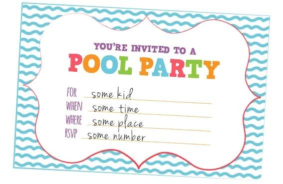 fun kids pool party invites