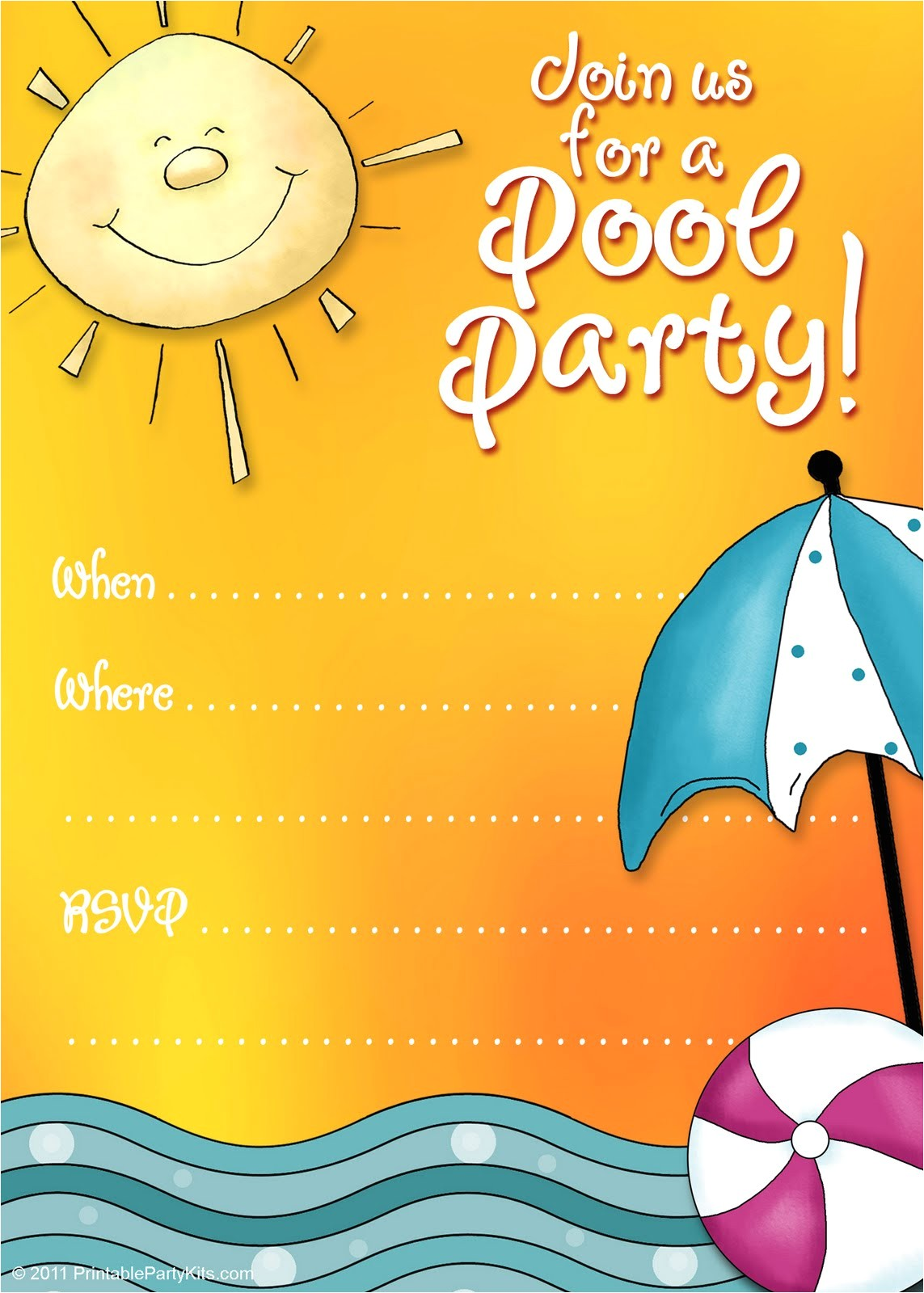 pool party birthday party invitations templates free download