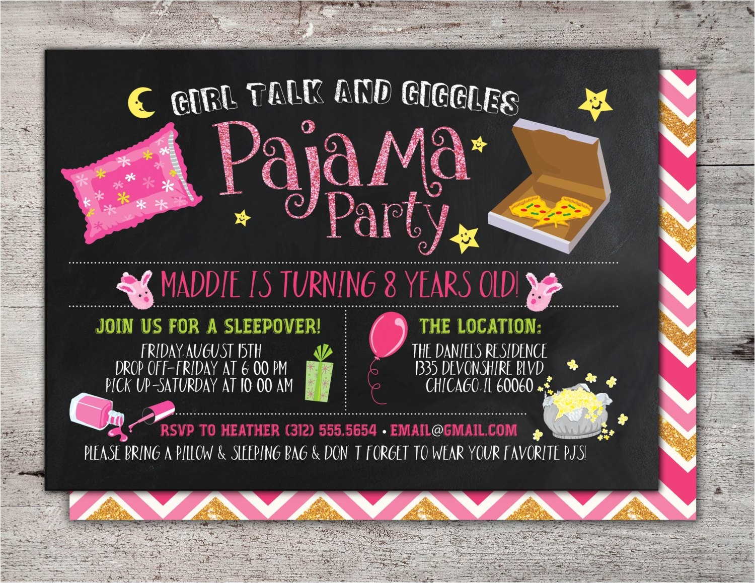 slumber party invitation girls slumber