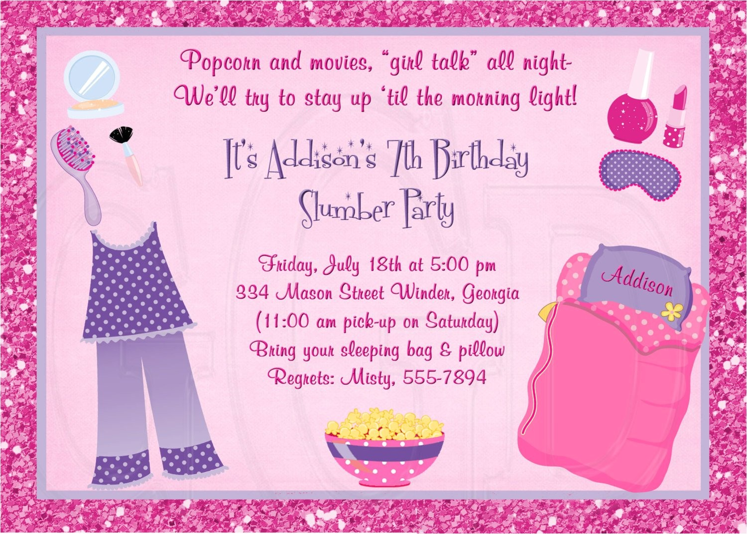 slumber party invitation pajama party