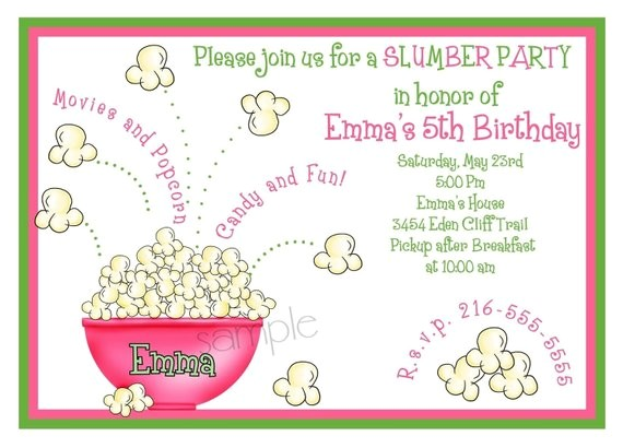 personalized invitations slumber party sleepover popcorn