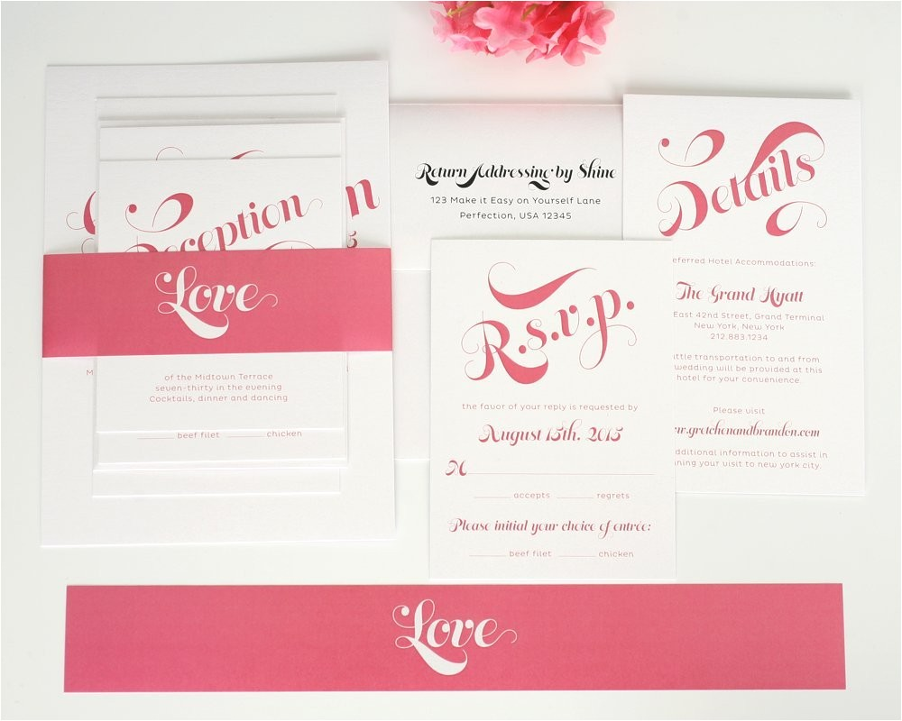 delightful script wedding invitations