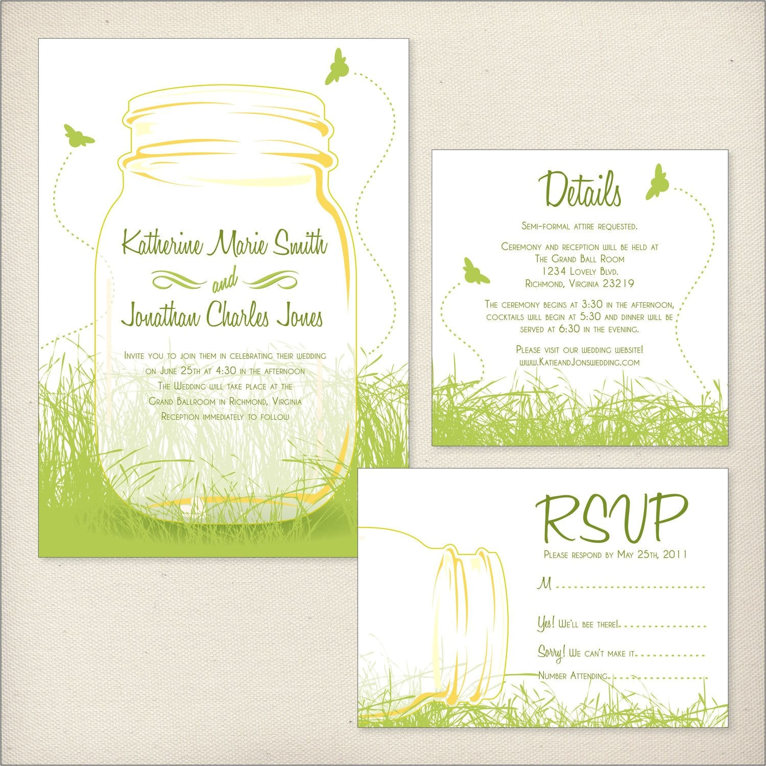 mason jars wedding invitation package