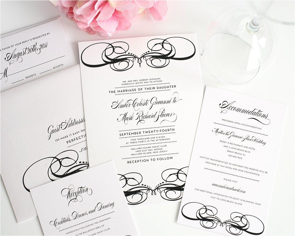 unique wedding invitations black white