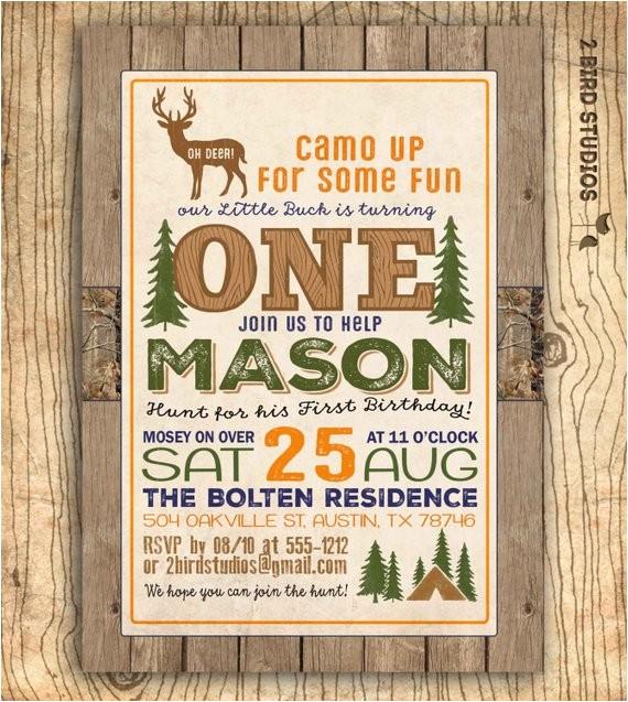 Hunting Birthday Party Invitations Hunting Birthday Invitation Deer Invitation 1st Birthday