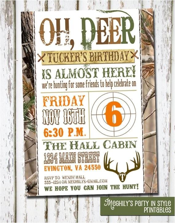 hunting theme birthday invitation