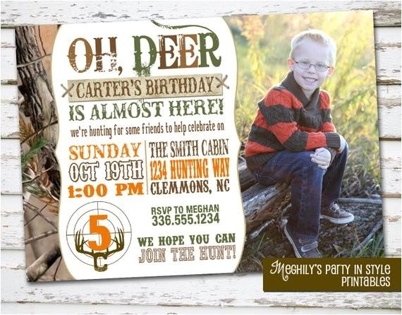 hunting theme birthday invitation photo