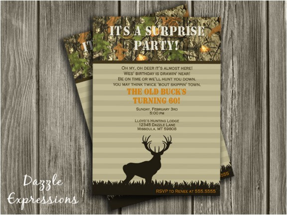 hunting surprise birthday invitation thank you card included
