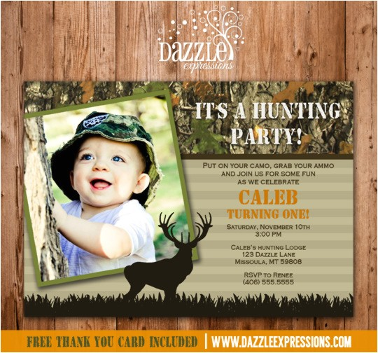 hunting invitation mossy oak camo thank you card included