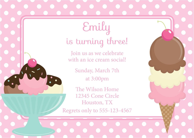 ice cream social invitation birthday