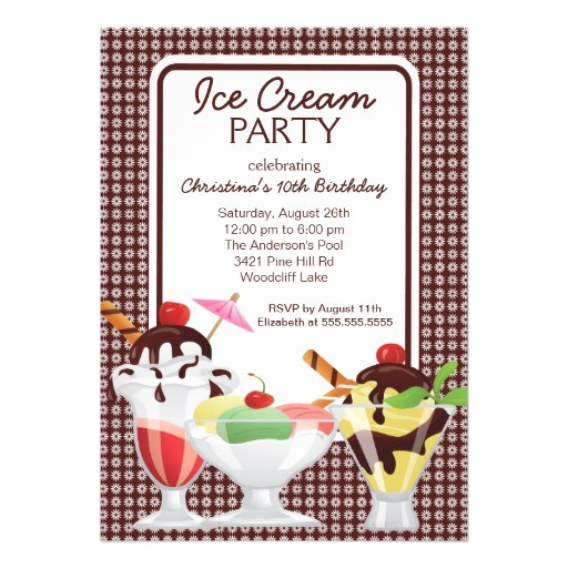 ice cream sundae invitations