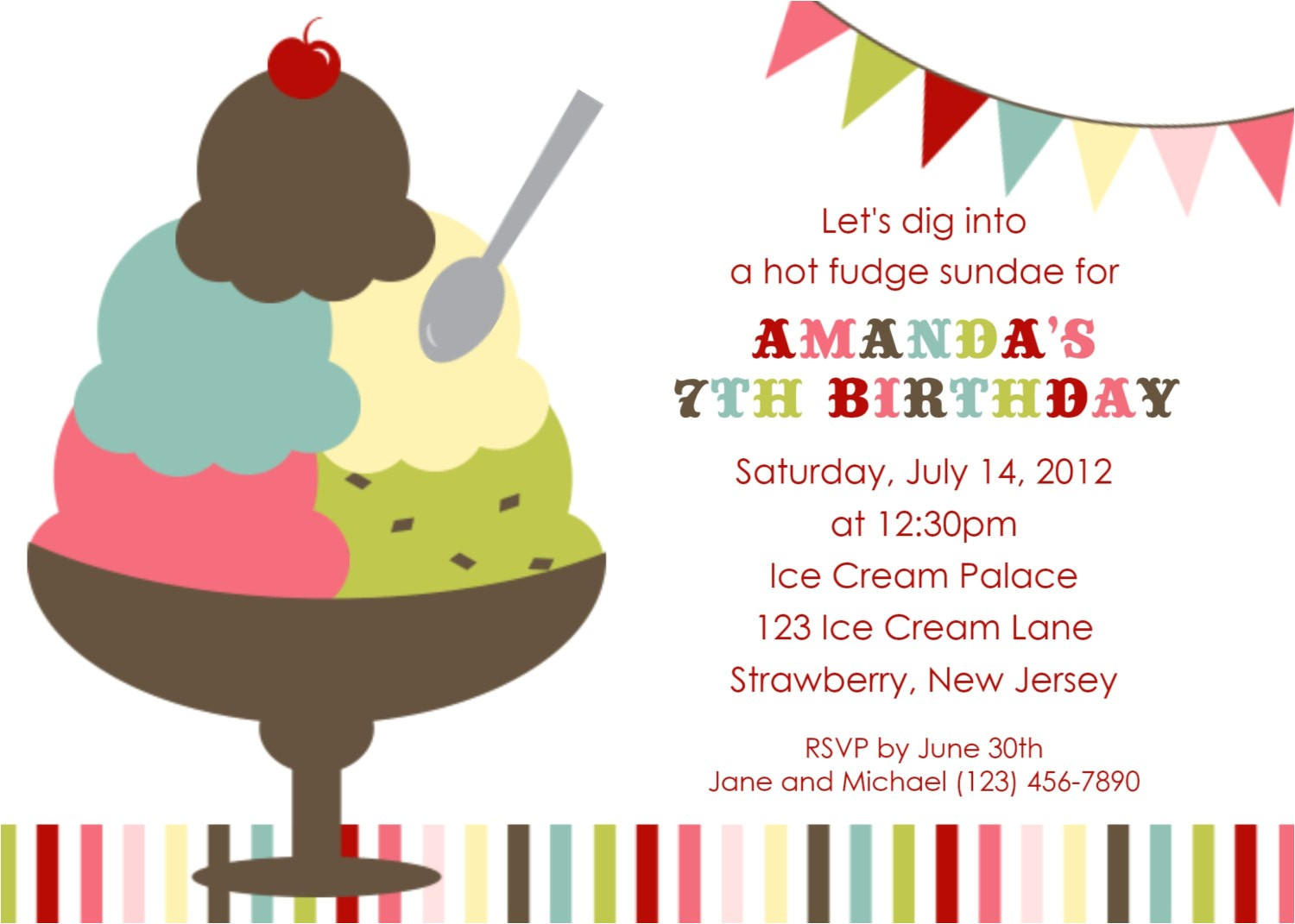 Ice Cream Sundae Party Invitations Ice Cream social Invitation