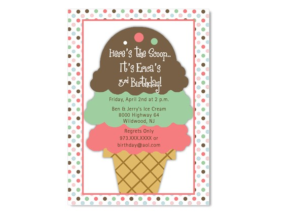 ice cream sundae birthday invitation custom colors