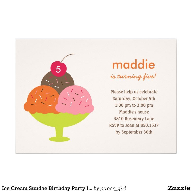 ice cream sundae birthday party invitation pink 161709233400338693
