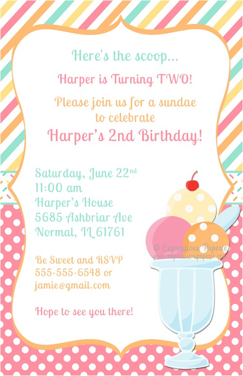 ice cream sundae birthday party invitations