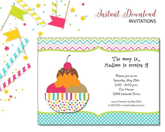 ice cream sundae kids birthday invitations