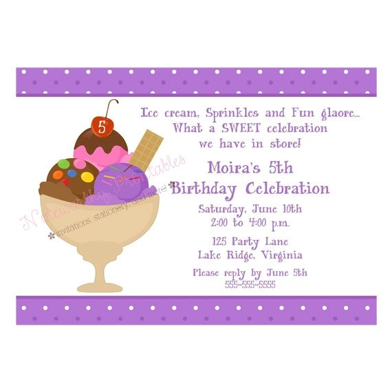 printable ice cream sundae party invitation