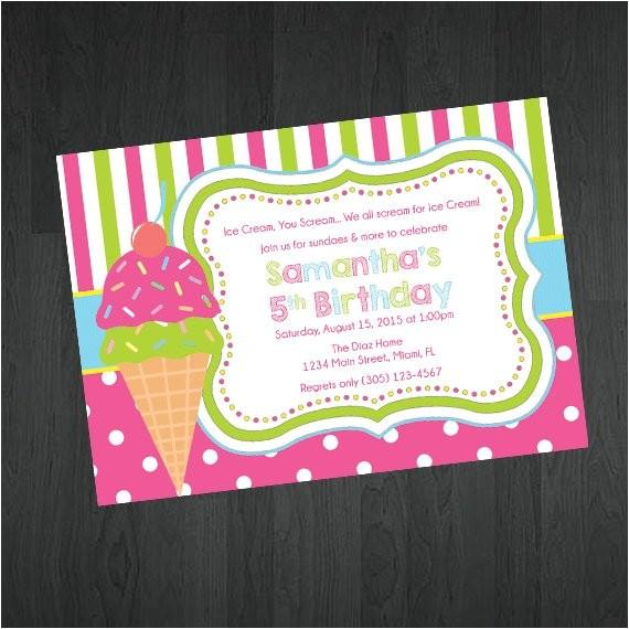 birthday invitation ice cream theme