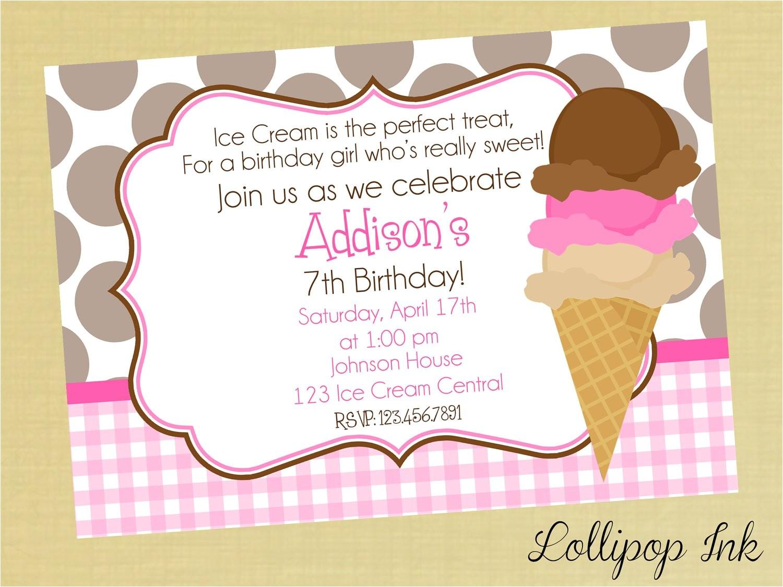 ice cream birthday invitations