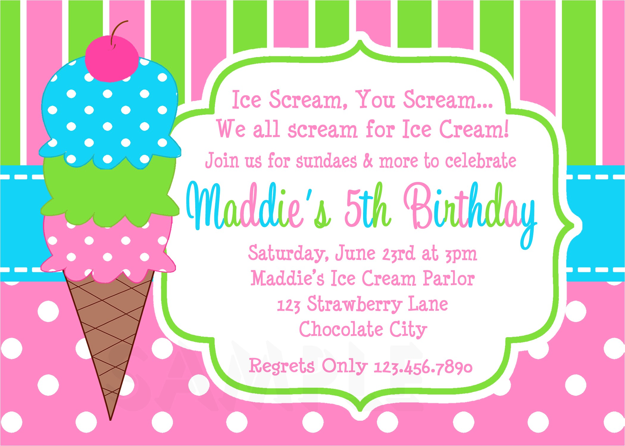 ice cream birthday party invitations pink green