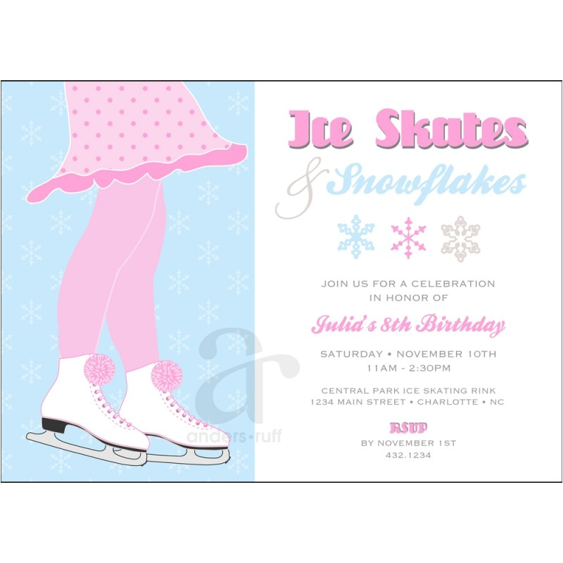 ice skating birthday party printable invitation