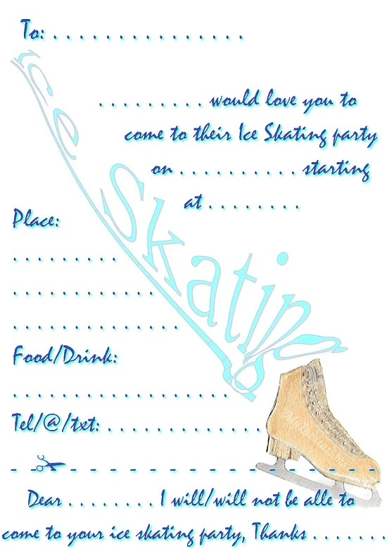ice skating birthday invitations