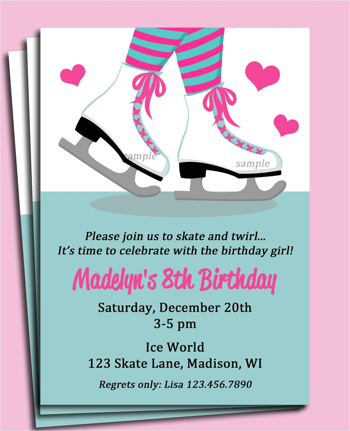 ice skating invitation printable or
