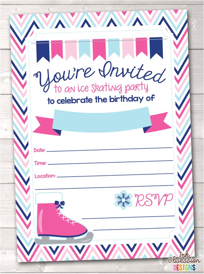 pink ice skating party printable birthday party invitation