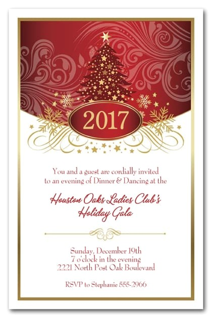 Images Of Holiday Party Invitations Red Tree Swirls Stars Holiday Party Invitations